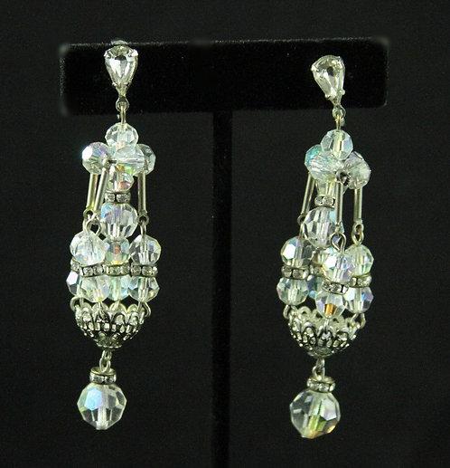 Midcentury Swarovski, Crystal & Rhinestone Long Chandelier Clip-on Earrings