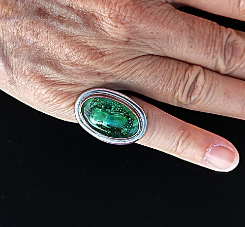 Vintage Sterling Oval Ring with Deep Green Sea Foam Glass, Adjustable