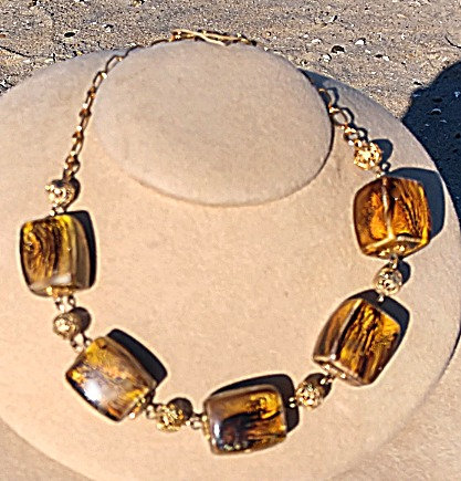 Celebrity 1960's Marble Painted Cube & Filigree Beaded Necklace, Earth Tones