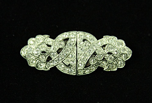Early 1900's Coro Duette - Brooch & Dress Clips - in Clear Rhinestones