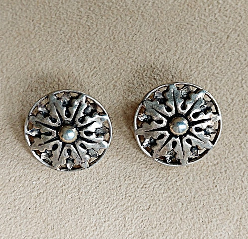 Round Sterling Floral Starburst Clip-On Earrings