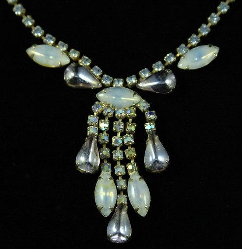 Rhinestone Drop Necklace in Moonstone Blue, Lavender & Aurora Borealis