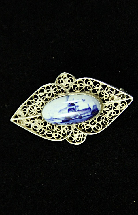 Delft Blue & White Windmill Brooch in Silver Filigree