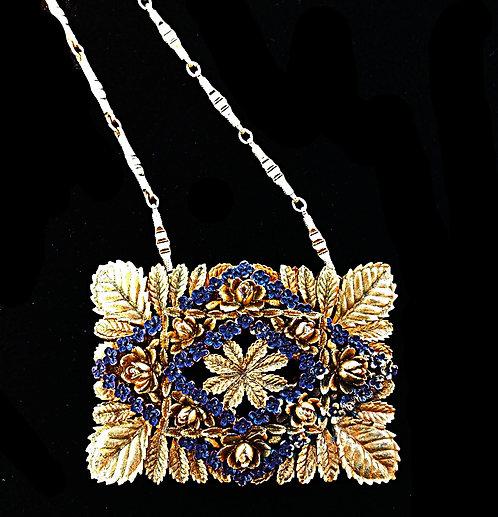 Antique Plastic Molded Belt Buckle Necklace in Brassy Gold & Dusty Purple