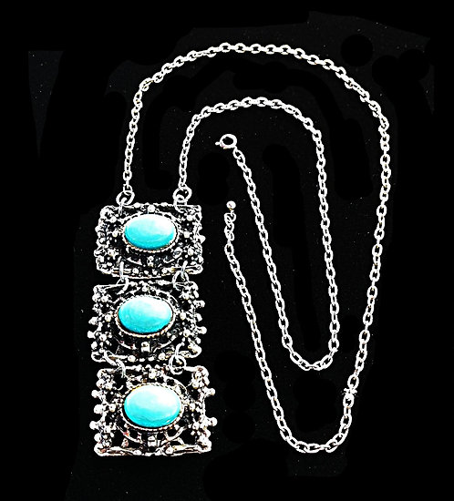 1970's Boho Chunky Silver 3-Segment Necklace with Faux Turquoise