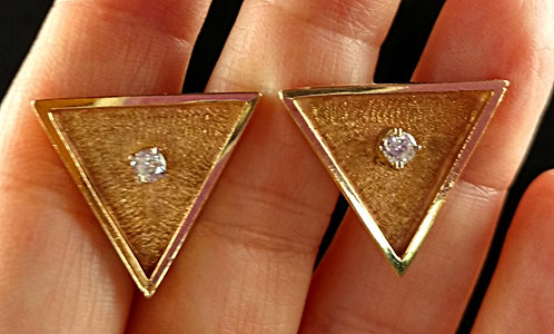 1960's 14K Gold Diamond Triangle Cufflinks