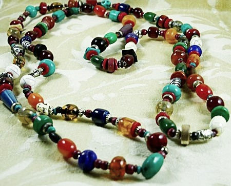 Nearly 6-foot Long, Colorful, Tribal Beaded Necklace