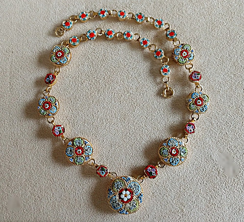 Italian Mosaic Floral Necklace in Gold Circular Setting