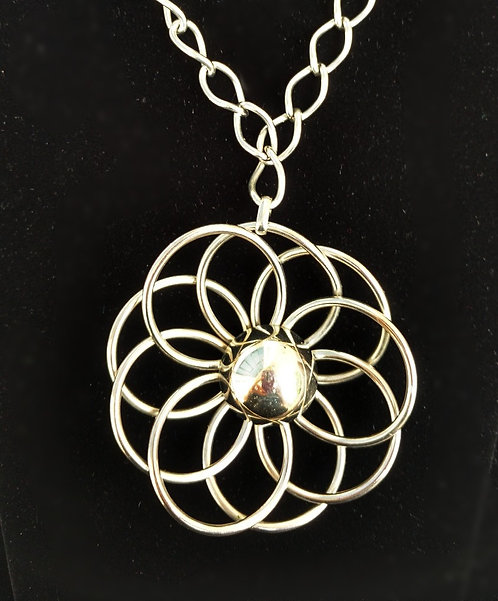 Huge 1960's Silver Abstract Pendant Flower Necklace on Chunky Chain