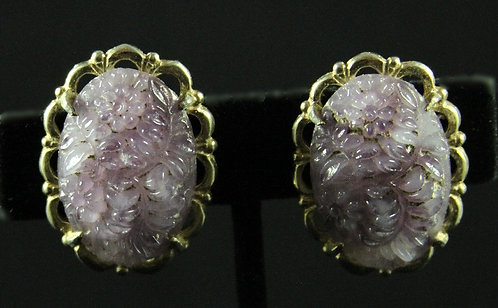 Lavender Floral Poured Glass Clip-on Oval Earrings in Gold Tone Setting
