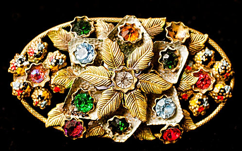 Victorian Brooch with Antique Brass Leaves, Enamel Petals & Colorful Rhinestones