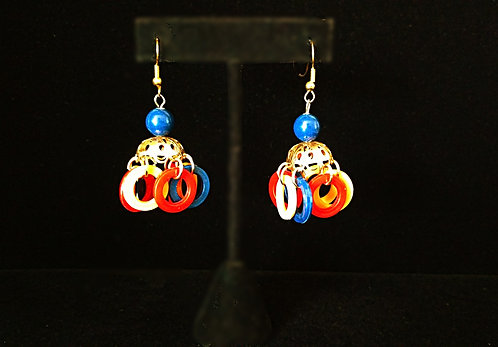 1960's Red, Navy Blue & Golden Yellow Plastic Chandelier Pierced Earrings