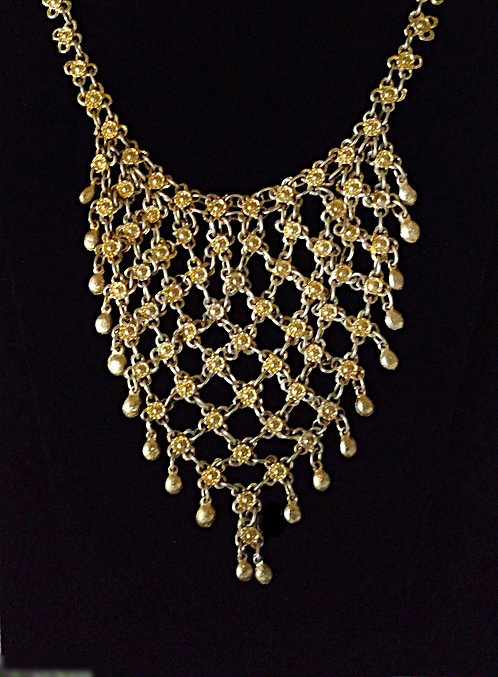Large 1960's Gold Bib Necklace with Dangling Beads