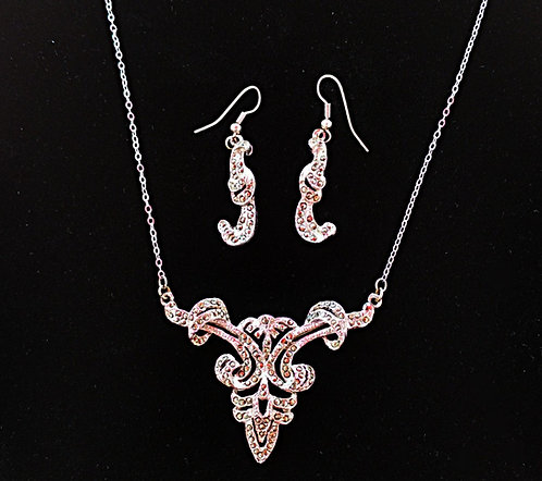 Vintage Silver & Marcasite Victorian Revival Necklace & Pierced Earring Set