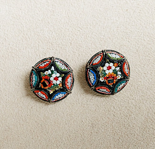 Italian Floral Mosaic Circular Clip-on Earrings