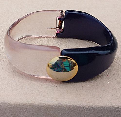 Mid-Century Modern Purple Lucite Plastic Hinged Bangle Bracelet