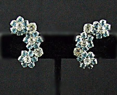 Double Demi Parure Brooch & Screwback Earring Set in Aqua & Clear Rhinestones