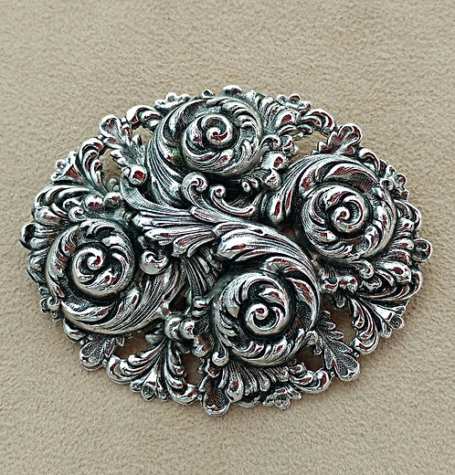 Large Ornate Oval Art Nouveau Style Vintage Silver Brooch