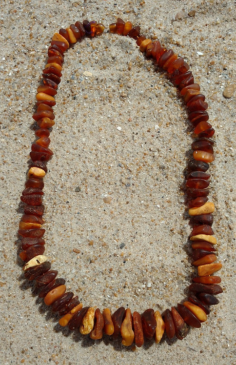 Graduated Necklace of Unpolished Baltic Amber in Butterscotch, Honey & Caramel