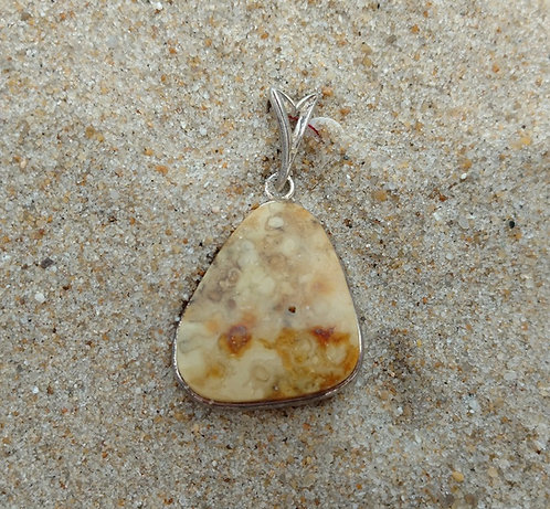 Triangular Sterling Silver Baltic Amber Pendant in Golden Tones