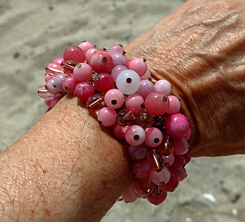 Vintage Stretch Bracelet, Hand Wired Glass Beads in Pinks, Purples & Cranberry