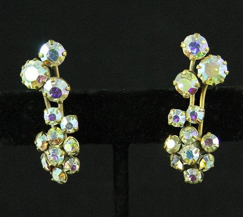 Austiran Golden Aurora Borealis Rhinestone Clip-on Earrings, Floral Sprig Design