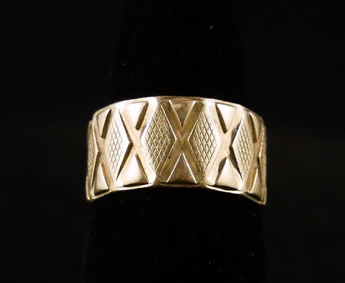 1980's Women's 14K Gold Wide Wedding Band with Lattice Design,Size 6