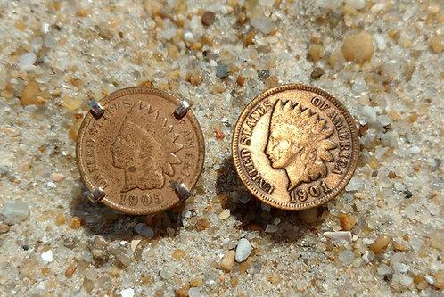 Indian Head Penny Cufflinks - 1901 & 1905