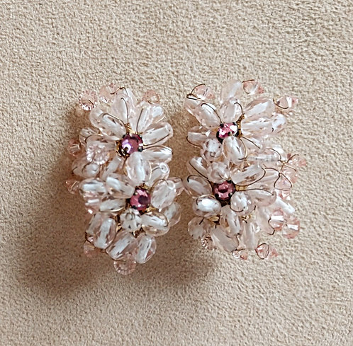 Pale Pink Glass Bead, Hand Wired Clip-on Floral Earrings by Dore