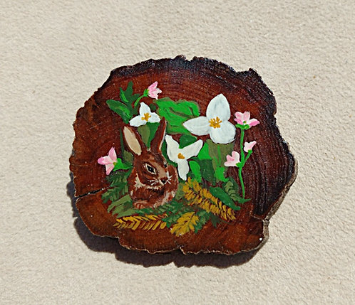 Vintage Hand Painted Wooden Brooch, Hand Painted Bunny & Trillium