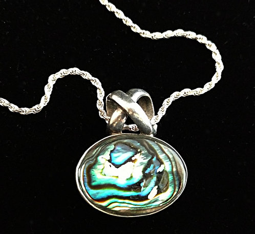 Contemporary Sterling Silver & Abalone Pendant Necklace on Rope Chain