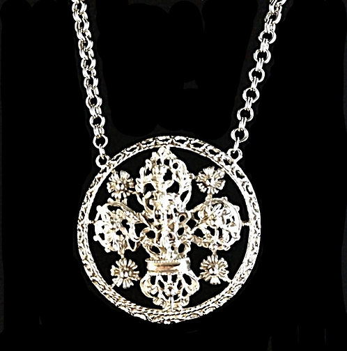 Lisner Large Medallion Silver Chunky Necklace in Fleur De Lis Motif