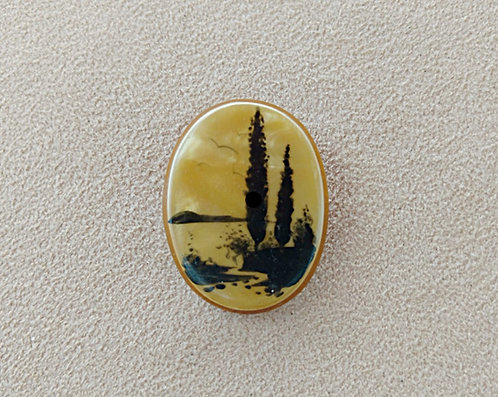 Antique Oval Brooch, Marsh Scene in Yellow & Gold Celluloid Layers