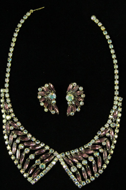 Demi-Parure Necklace & Clip-on Earrings in Dusty Rose & Aurora Borealis
