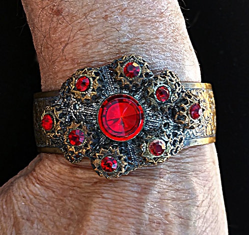Antique Brass Cuff Bracelet with Lacy Medallion & Scarlet Red Rhinestones
