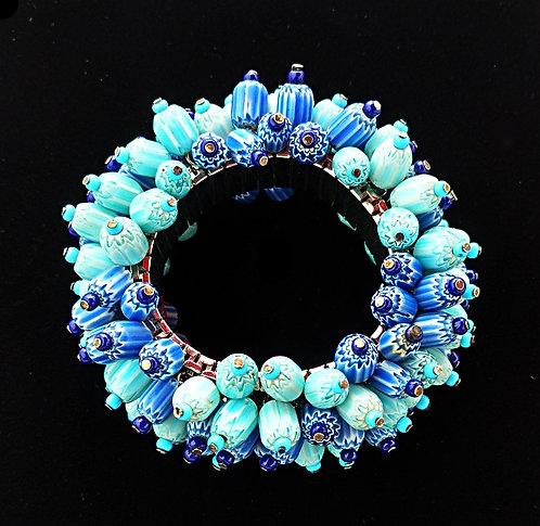 Vintage Hand Wired Stretch Bracelet in Aqua & Blue Artisan Beads