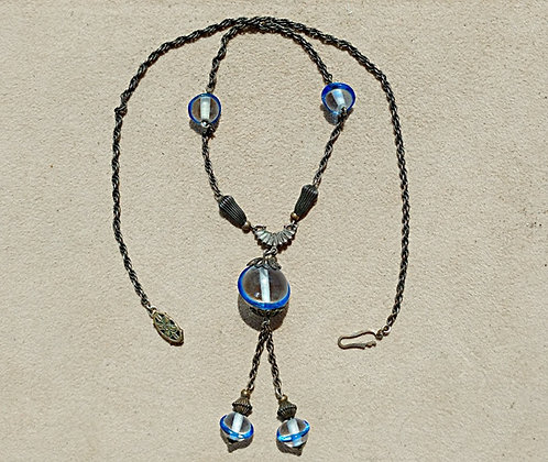 1920's Art Deco Necklace - Antique Silver, Blue Streaked Pools of Light Glass