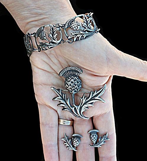 Thistle Sterling Triple Demi Parure Bracelet, Brooch & Screwback Earring Set
