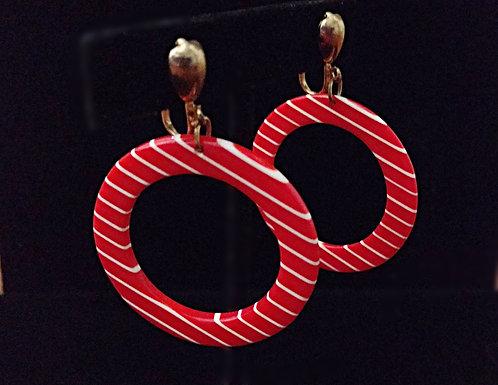 Vintage 1960's Red & White Stripe Plastic Clip-on Hoop Earrings