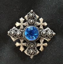 950 Silver, Maltese Cross Pendant & Brooch with Sapphire Blue Stone