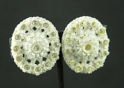 Off-White Oval Plastic Clip-On Earrings with Clear Rhinestones