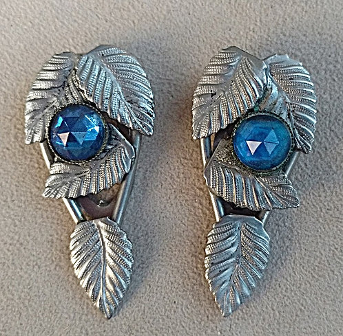 Pair of 1920's Dress Clips in Silver Leaves & Blue Glass