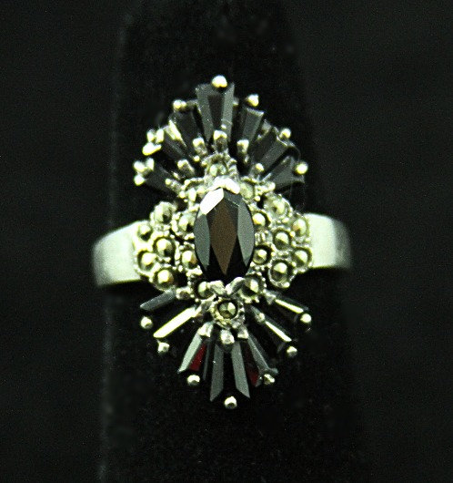 Elongated Sterling Deco-Style Black Glass & Marcasite Ring, Size 5.25