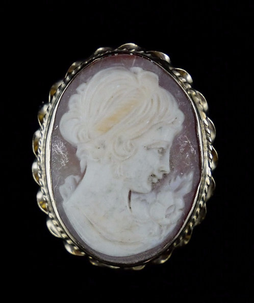 1960's 14K Gold Shell Cameo Brooch/Pendant with Rope Edging, Portrait of Woman
