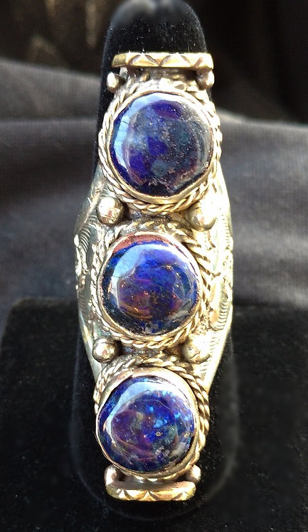 Unisex Tibetan 3-Stone Lapis Ring with Silver Band,  Adjusts, Size 11