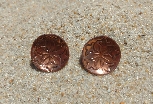 Hand Wrought Single Disc Copper Screwback Earrings with Flower