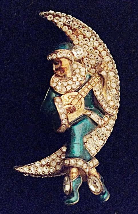 Vintage Gold & Rhinestone Musician on Moon Brooch in Green Enamel