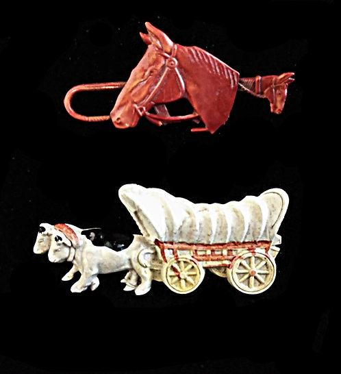 Pair of Vintage Western Celluloid Brooches, Rust Red Horse & Conestoga Wagon