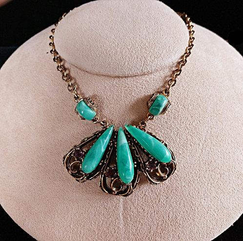 Emerald Green Thermoplastic & Purple Rhinestone Fan Necklace in Antique Brass