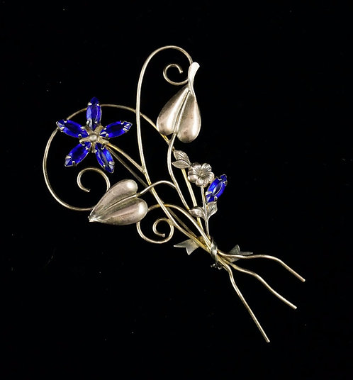 Large 1930's Rose Gold Filled Floral Brooch with Vivid Royal Blue Petals